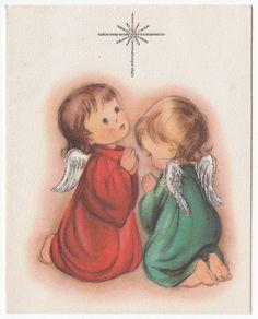 Vintage Greeting Card Christmas Angel Praying Kneeling Prayer