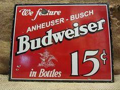 Vintage Porcelain Budweiser Beer Sign Antique Old Brewery Bud Signs Sign 7616