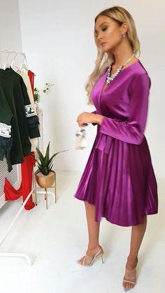 Capri Velvet Tie Wrap Dress in Purple : Pleated skirt on this crushed velvet wrap=over dress Satin Gown, Satin Dresses, Elegant Dresses, Sexy Dresses, Short Sleeve Dresses, Wrap Over Dress, Dress Skirt, Blouse And Skirt, Party Dresses