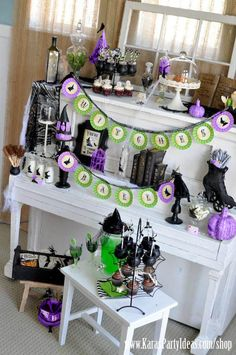 Witches Ball Halloween Party. Remember, just a touch of black, purple and light green for a chic Halloween Fashionista Fete! Halloween Fashionista Fabulous Witches Theme Party & Decorating Ideas