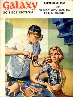Galaxy Science Fiction No 46  (Sep 1954)   BTW, a very similar poster was in one of Keeping Up Appearances episodes, in daddy's room.