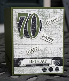 Masculine birthday card using Stampin Up! Number of Years stamp set