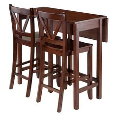 Winsоmе Deluxe Premium Collection Lynnwood 3 Piece Drop Leaf Table with 2 Counter V-Back Stools Brown Decor Comfy Living Furniture Counter Height Dining Table, Wooden Counter, Counter Stools, Solid Wood Dining Set, 3 Piece Dining Set, High Table Set, Kitchen Island Table, Kitchen Counters, Kitchen Appliances