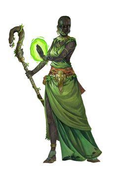 Female Black Human Druid or Shaman - Pathfinder PFRPG DND D&D d20 fantasy