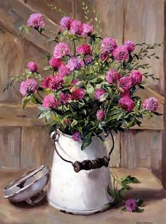Publishers of Anne Cotterill Flower Art Art Floral, Deco Floral, Watercolor Flowers, Watercolor Paintings, Painting Flowers, Bouquet Champetre, Milk Cans, Milk Jug, Still Life Art