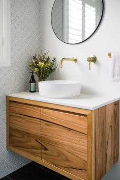 Opting for feature tiles is a great way to create a wow factor and brushed brass tapware and other bathroom Accessories add warm golden hue. Rustic Bathroom Vanities, Brass Bathroom, Bathroom Renos, Bathroom Layout, Bathroom Interior Design, Small Bathroom, Timber Vanity, Feature Tiles, Bathroom Feature Wall Tile