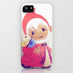 Gnome with flower iPhone & iPod Case by Vintage  Cuteness - $35.00 #vintage #gnome #red #european #christmas #german #phone #case