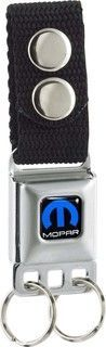 Mopar Seat Belt Buckle Keychain featuring a push button, quick release for your keys. It looks, feels and works like a miniature seat belt buckle clasp. There are 2 key rings included but can accommod