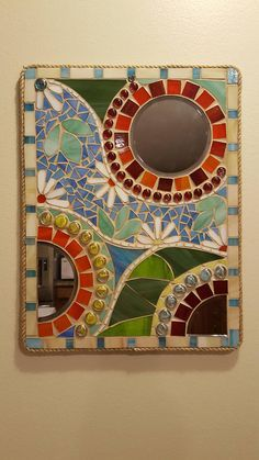 Stained glass mosaic mirror x in. Mosaic Tile Art, Mirror Mosaic, Mosaic Diy, Mosaic Garden, Mosaic Crafts, Mosaic Projects, Mosaic Glass, Stained Glass Patterns, Mosaic Patterns