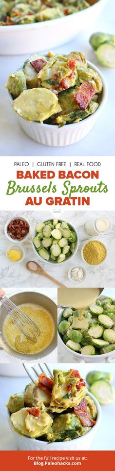 Cover Brussels sprouts in thick cream and bacon for a side that's indulgent enough to become your new main dish. Get the full recipe here: http://paleo.co/brusselsaugratin