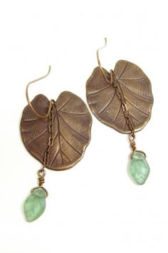 Nouveau Leaves with Drop  http://www.artfire.com/ext/shop/product_view/julisjewels/686354/nouveau_leaves_with_drop/handmade/jewelry/earrings/other_metals