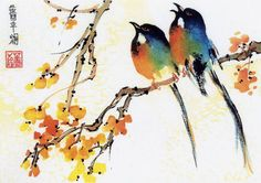 Pics For > Japanese Bird Painting Japanese Ink Painting, Japanese Watercolor, Easy Watercolor, Chinese Painting, Chinese Art, Watercolor Paintings, Tattoo Watercolor, Ink Paintings, Watercolour Flowers