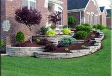 Tiered landscaping against home