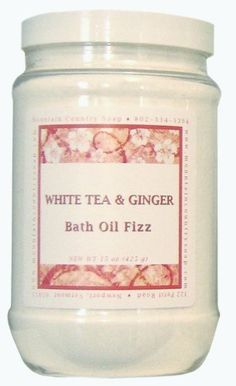 White Tea & Ginger Bath Oil Fizz by Mountain Country Soap. $15.95. The exotic scents of white flowers, tea, sparkling citrus, and spicy ginger.. Sink into the tub for a relaxing scented bath that softens, moisturizes, and soothes dry itchy skin.. As a foot soak, place feet in a basin of water or stop the tub drain to soak feet while showering.. * Ships Same or Next Day * FREE Shipping when you spend $50 on products from Mountain Country Soap Detox Bath Soak, Ginger Bath, Foot Soak, Flower Tea, White Flowers, Health And Beauty, Bath And Body, Moisturizer, Rome