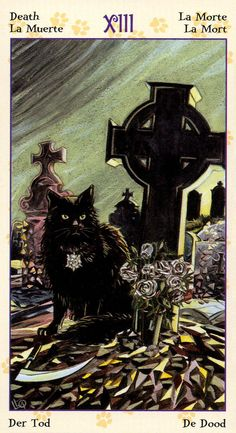 Death ~ The Tarot of Pagan Cats deck by Lola Airaghi & Magdelina Messina Find out what the Death card means for you: www.tarotbyemail.com
