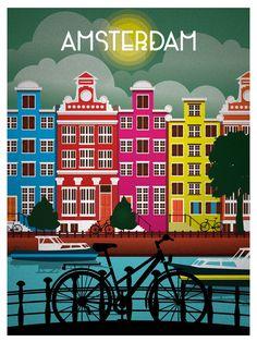 amsterdam travel posters | Vintage Amsterdam Travel PosterVintage Posters, Travelposters, Vintage ...