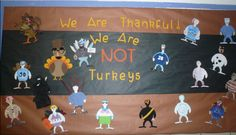 We Are Thankful We're Not Turkeys. 'Turkeys In Disguise' project. The gist of the activity; students are given a turkey template and must be crafty, using various craft materials to create a costume to disguise their turkey and help them escape their Thanksgiving fate. No turkeys here! …Just a ballerina, police officer, and pile of fall leaves!