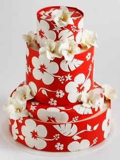 Red & white floral cake