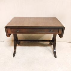 Antique Mahogany Double Pedestal Drop Leaf Occasional Table $110