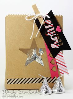 Cute favor bag for Valentines Day gift.  Mini Treat Bag Thinlits are the perfect item from the 2015 Stampin' UP! Occasions Catalog to use for this treat. #luvinstampin