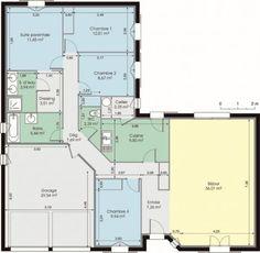 plan de maison plain pied en l | Plan plein pied maison | Pinterest ...