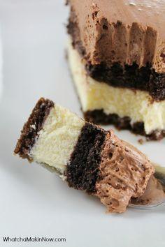 Chocolate Italian Love Cake - Soooooo easy, but looks fancy. Chocolate cake with a sweet Ricotta Cheese filling.