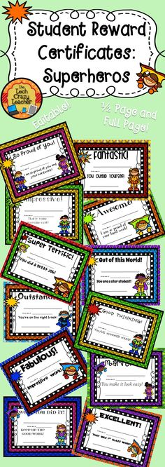 Motivation and rewards are important in a classroom. Students love receiving reward certificates for their achievements. Even more, they love taking their certificates home and showing them to their parents! This set includes 12 different certificates. Each comes in a full page or half page size. Each is completely editable! Just type in the student name, date, and your name. Print and send home! $