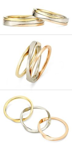 Ring: Gimmel Ring (Three-strand)./ 【リング -Gimmel ring-ギメルリング(3連)-】3本の連なったリングを組み合わせると1本になるギメルリング。大切な人たちとの強い絆が広がる様子を表現しています。/ K.uno is a jewelry brand in Japan. We create bridal and fashion jewelry and apparels from our original to custom made designs. ◆HP→http://www.k-uno.co.jp/ ◆MAIL→k-uno@k-uno.co.jp