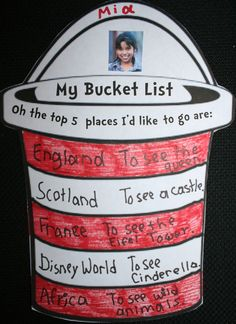 "Have your students make a ""bucket list"" of the places they would like to go when reading ""Oh the places you'll go"" by Dr. Seuss."