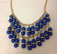 NWT Ann Taylor LOFT Gold Tone Blue Beaded Necklace NEW