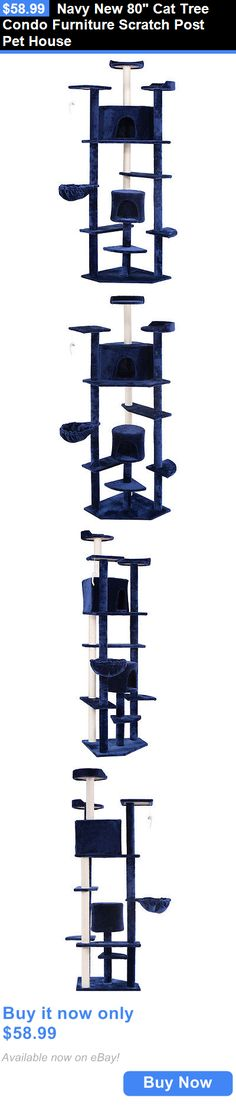Animals Cats: Navy New 80 Cat Tree Condo Furniture Scratch Post Pet House BUY IT NOW ONLY: $58.99