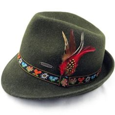 German Alpine Green Wool Hat with Embroidered Band