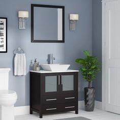 Wade Logan Karson 30 Single Bathroom Vanity Set with Mirror Base Finish: Mirror Cabinets, Vanity Set With Mirror, Single Bathroom Vanity, Modern Bathroom, Bathroom Renovation, Bathroom Decor, Vanity, Zen Bathroom, Painting Bathroom