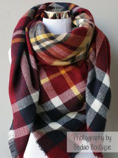 Blanket Scarf Plaid (Maroon, Navy Blue, Yellow) Everyone's favorite scarf to wear all fall and winter! It's THE trendiest scarf of the season. Gorgeous colors and amazingly soft scarf to keep you cozy and warm. The generous cut offers endless ways to drape, twist, and wrap according to your outfit. These make a wonderful gift for yourself or your loved ones...blanket scarf, plaid scarf, oversize scarf, zara scarf, tartan scarf, blanket scarves