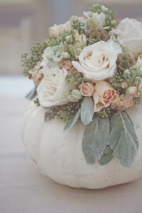 This fun roundup of fall wedding decorations includes everything from pumpkin wedding centerpieces to pumpkin aisle decor and escort cards. White Pumpkin Centerpieces, Pumpkin Vase, Pumpkin Flower, Pumpkin Bouquet, White Pumpkins Wedding, White Pumpkin Decor, Pumpkin Wedding Decorations, Gold Pumpkin, White Centerpiece