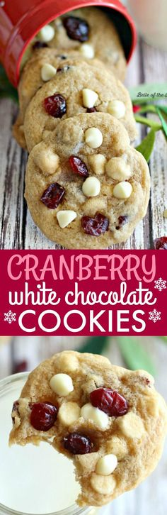 If you've got a cookie exchange coming up, or really just any holiday get-together on your horizon, these Cranberry White Chocolate Chip Cookies are the perfect treat! Full of sweet cranberries and white chocolate, they're sure to become a new holiday favorite!