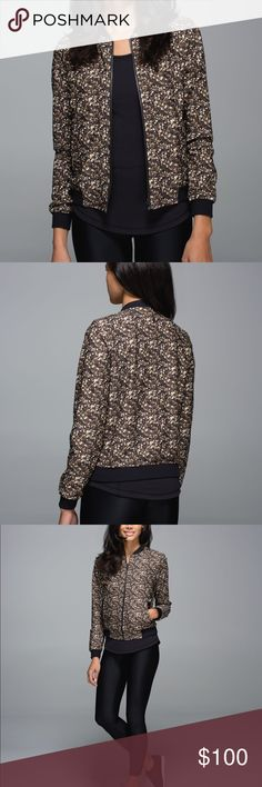 Shimmy Shimmer Limited edition Bomber Jacket Pre worn in great condition! This jacket is reversible and made out of the comfy material Luon. This was from the 2014 holiday collection. I can't find the size tag anywhere but it fits like a 4 lululemon athletica Jackets & Coats