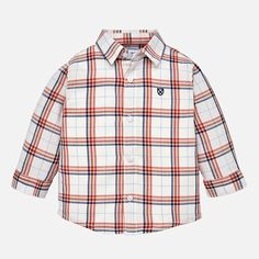 Color: Candy Red Long sleeved shirt for baby boy with buttoned cuffs and a shirt collar. Buttons down the front of the shirt. Toddler Boys, Baby Boys, Blue Check, Check Shirt, Clothing Items, Kids Wear, Red And Blue, Button Up Shirts, Long Sleeve Shirts