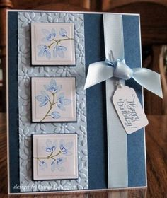 lovely handmade inchie card ... in blues ... luv the soft blues ... three inchies in a column ... lovely ... Stampin' Up! by Carol Goff
