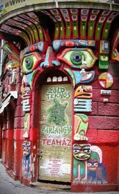 The unique doorway of the Green Tortoise (Zöld Teknös) teahouse in Budapest, Hungary
