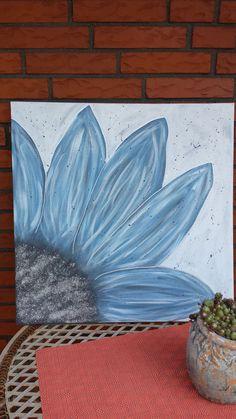 Acrylbild / Leinwand BLAUE BLUME Gr. 50 x 50 cm 100% HANDARBEIT