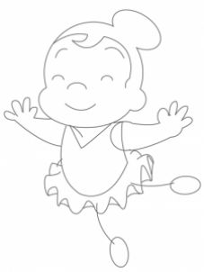 People For Kids - How to draw a cartoon ballerina