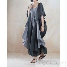 Gray Asymmetric summer linen dress maxis long linen sundress Two pieces-Will be available soon