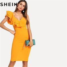 SHEIN Sleeveless Ruffle Layered Flounce Trim - Women Fashion 9d3f6d4d3dce