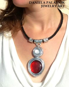 black leather necklace//red wrapped stone//silver beads//red pendant necklace//stylish necklace//stone necklace//wedding/bridesmaid necklace