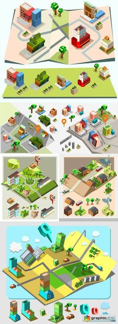 Isometric vector mix 25xeps isometric interior design pinterest pre assembly isometric map gumiabroncs Choice Image