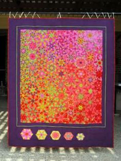 """One Block Wonder quilt I made for my sister, using Kaffe Fassett fabrics.  I named the quilt """"Mango Tango"""".      I'm sorry the picture is so small  ...  there is a better picture at my other pin  https://www.pinterest.com/pin/550987335637985394/"""