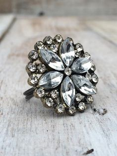 Cluster Ring - Rhinestone - Jewelry  - Vintage Style by BostonInventory, $10.00