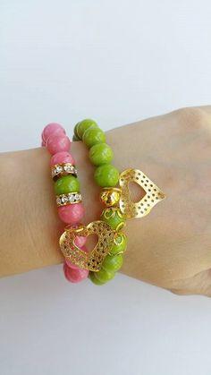 gemstone bracelet Set of two beaded bracelets por TresJoliePT