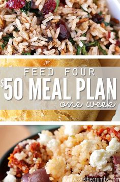 A $50 meal plan for a family of four covers clean eating and easy recipes for breakfast lunches and dinners for a full week. It's perfect when money is tight and you're not sure what to put on the table or use as a budget tip to save money on groceries! :: DontWastetheCrumb